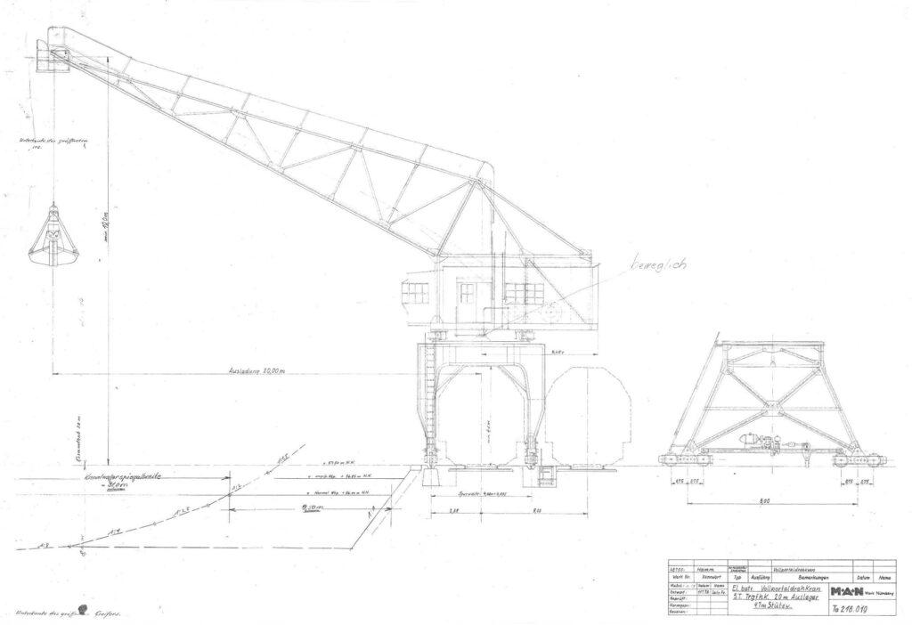 Zeichung Hafenkran Hamm 1898