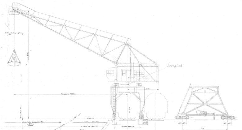 Hafenkran Hamm Zeichnung 1898